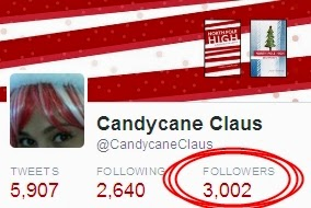 "Candycane Claus, aka Candace Jane Kringle, author of the critically acclaimed ""North Pole High,"" reached 3,000 followers on Twitter on November 25, 2014."