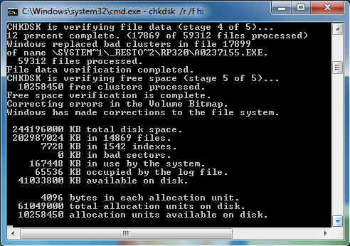 how to run chkdsk r