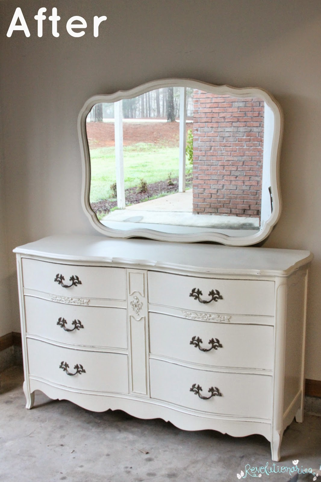 Before and After: The French Dresser with Mirror!