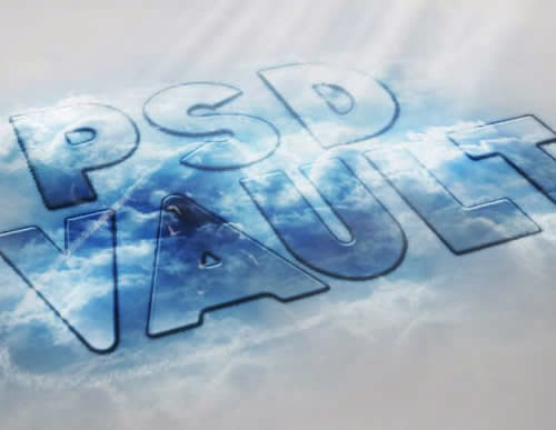 Translucent Text Effect with Sky and Cloud