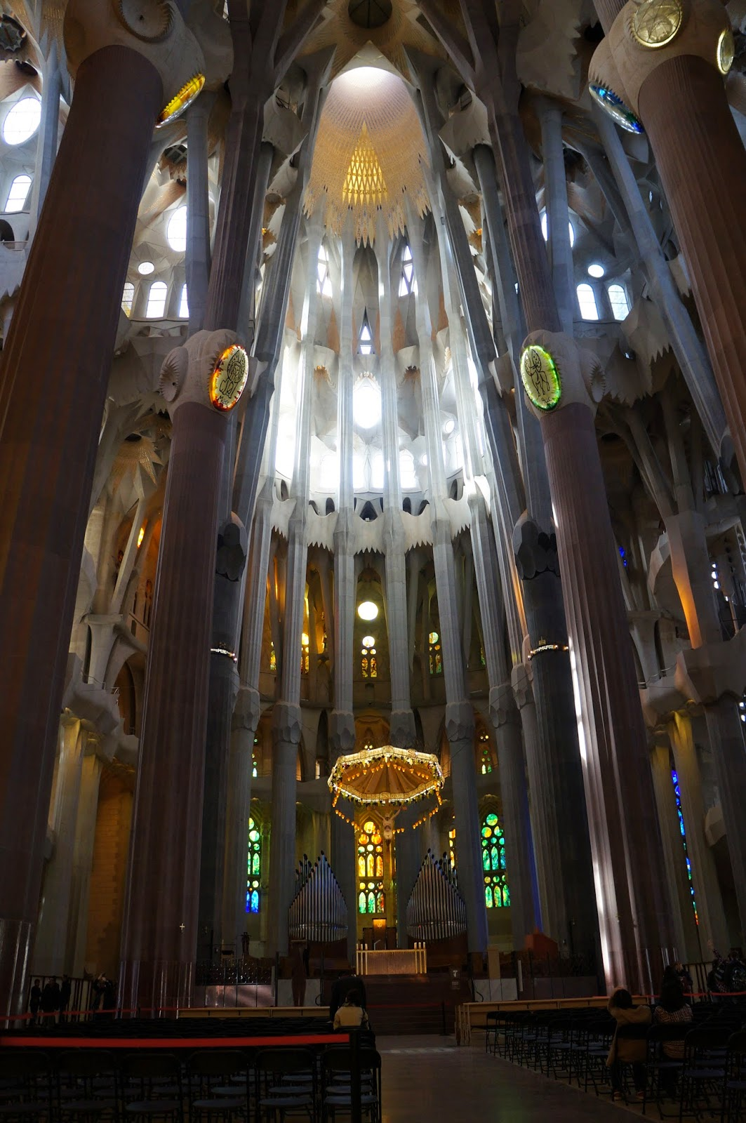 Inside the Sagrada Familia in Barcelona Spain.