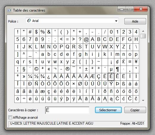 Photoblogue windows mettre un accent sur une majuscule - Table des caracteres windows ...
