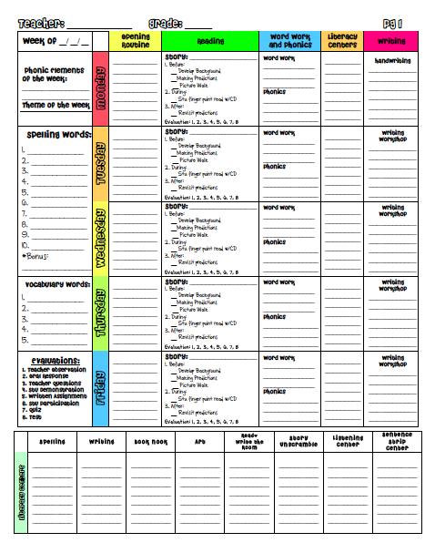 A teacher39s plan for Day plan template for teachers