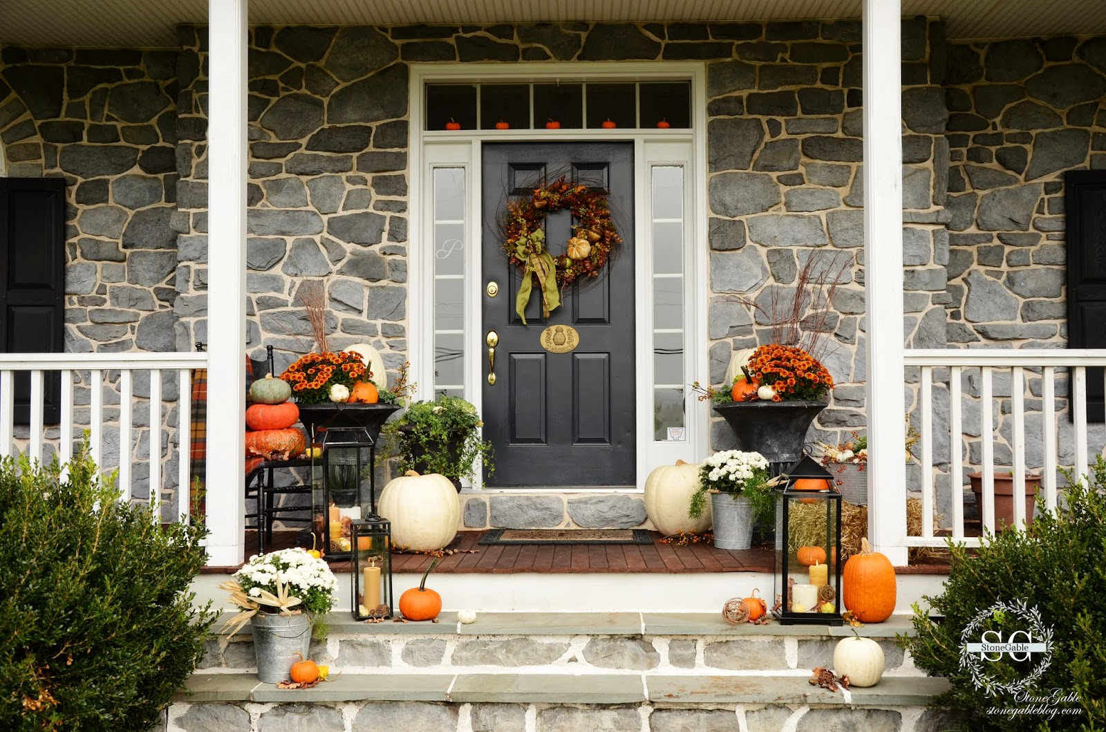Fall on the front porch stonegable Small front porch decorating ideas for fall