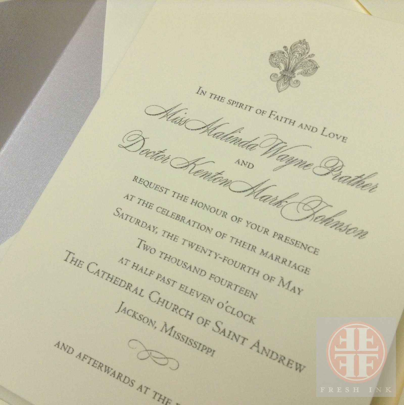 Malinda Prather and Kenton Johnson Fleur de Lis Wedding Invitations ...