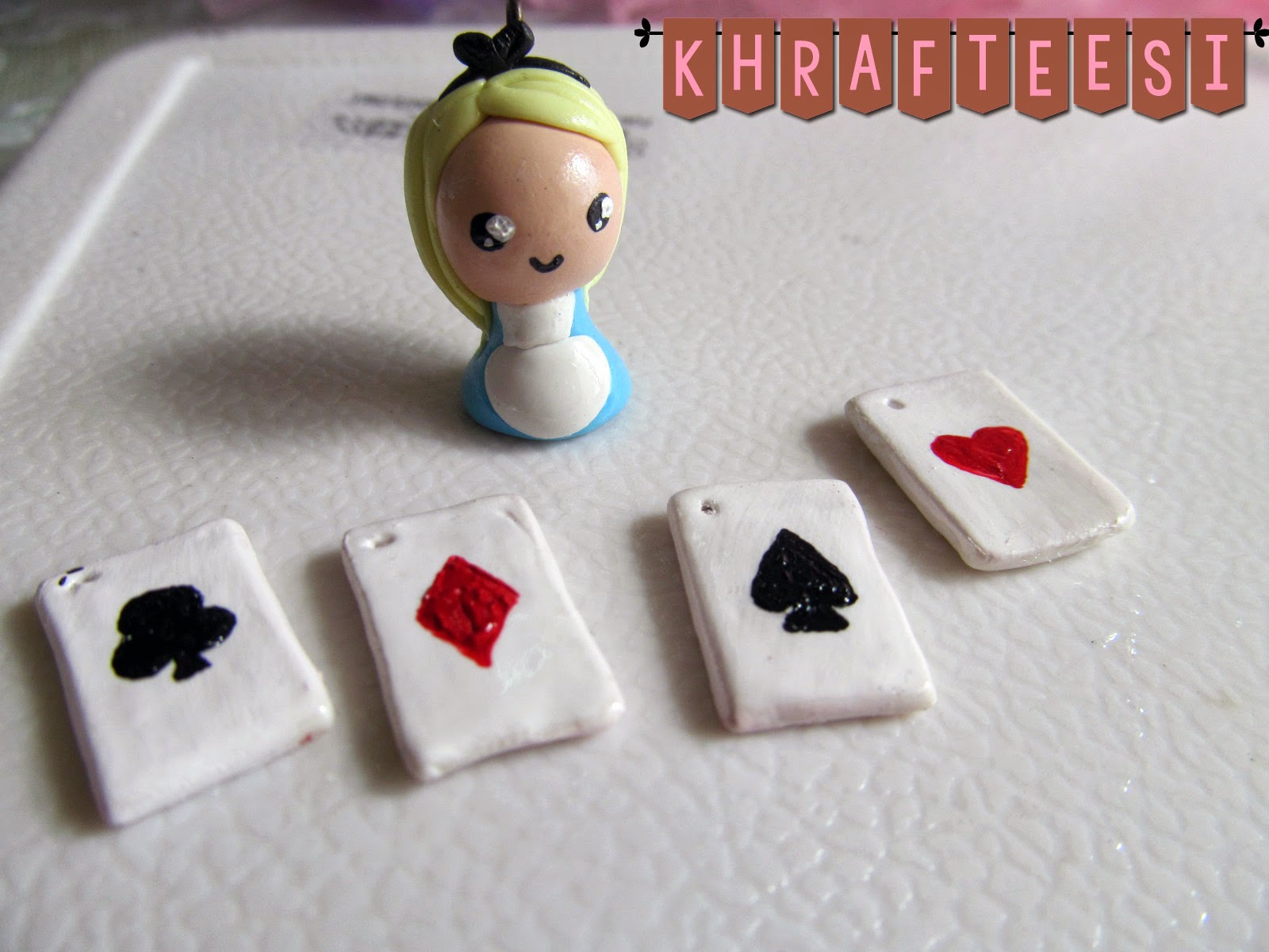Alice and wonderland Chibi Charm with poker cards