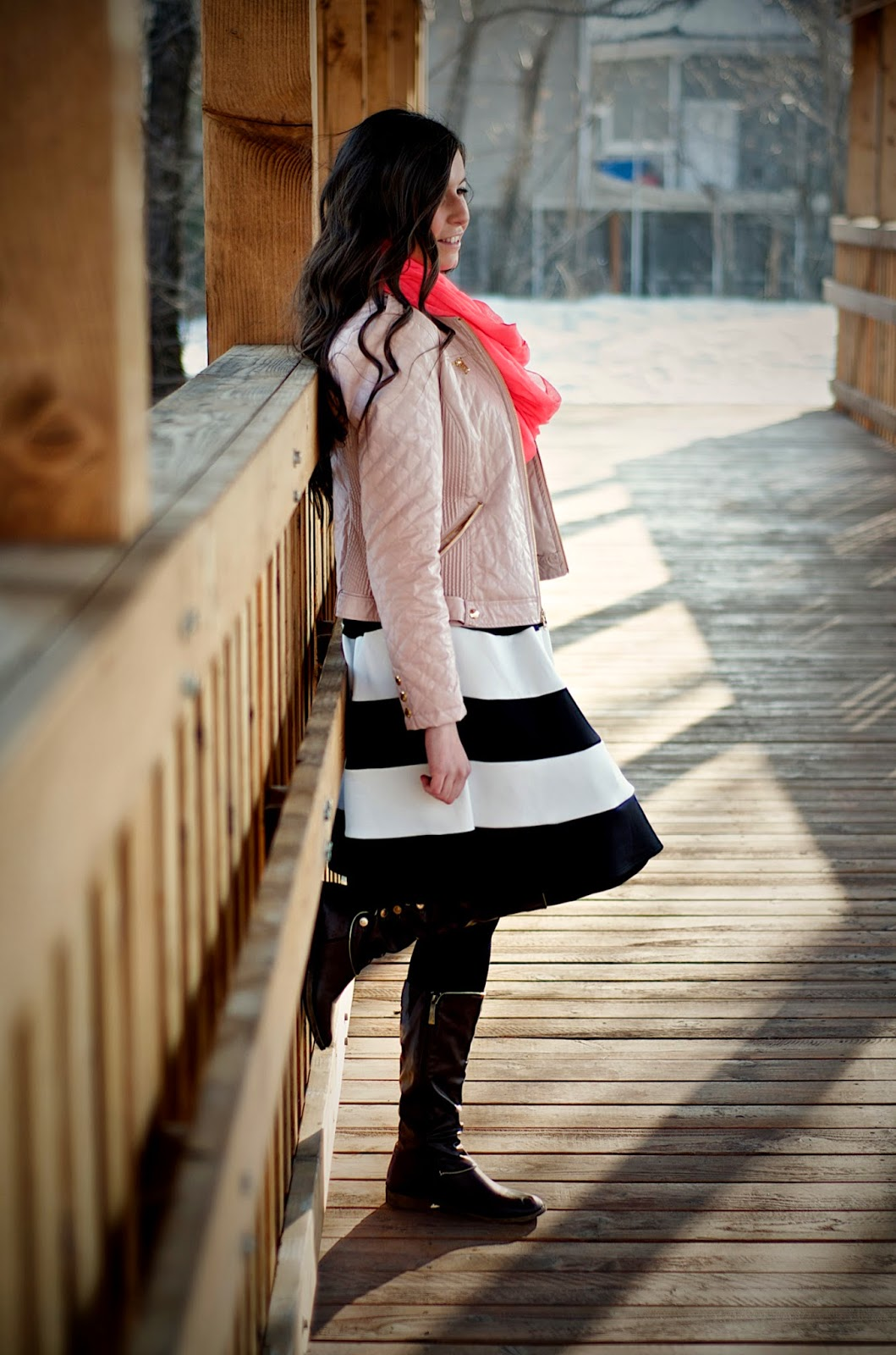 pink leather jacket, guess clothing, guess jacket, brown boots, black and white flare skirt, black and white skirt,  pink scarf, windsor store, windsor style, windsorstore,