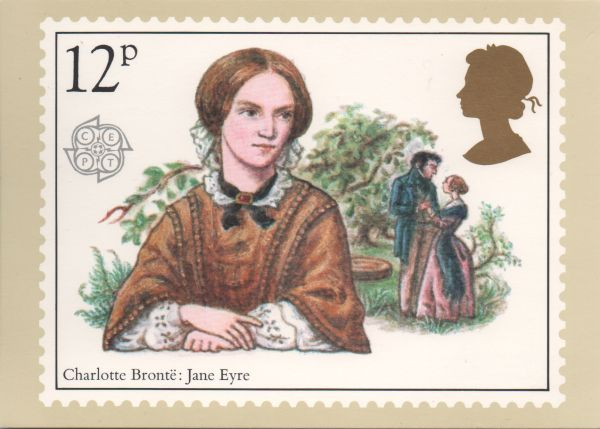 stamp card showing Charlotte Brontë and a scene from Jane Eyre