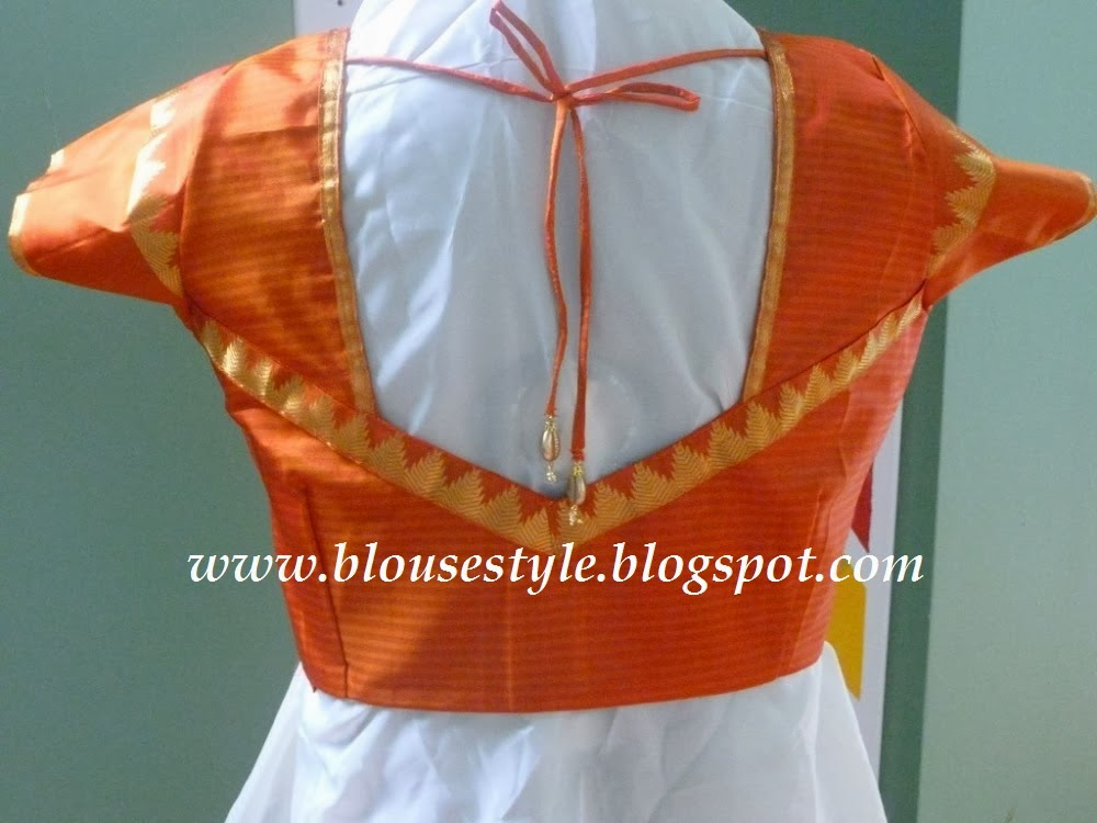 ORANGE KNOT TYPE WEDDING BACK NECK BLOUSE