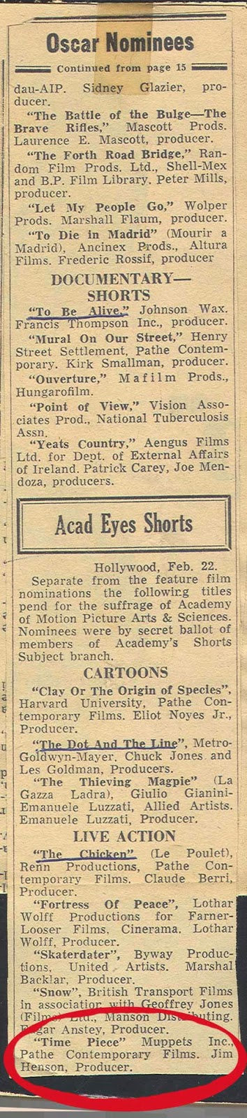 Variety 1966 Academy Award Nominees Short subject