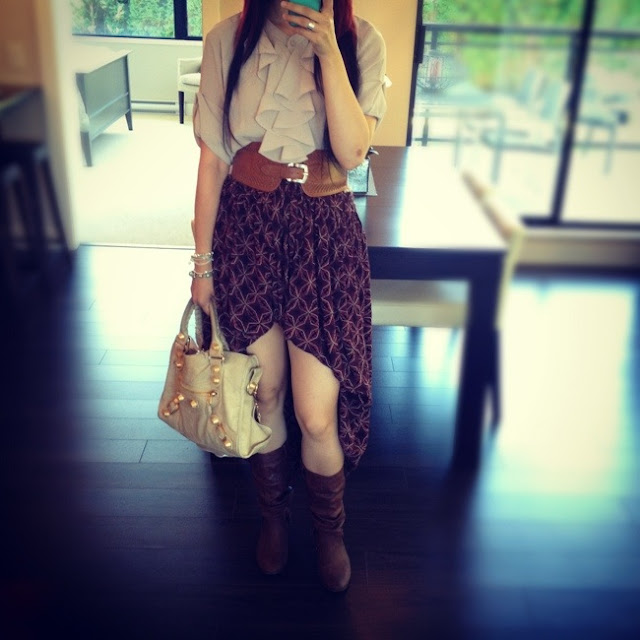 pirate shirt, autumn hi lo skirt, diy hi lo skirt, balenciaga ggh sahara city, gold city bag, outfit, fashion, style, outfit of the day