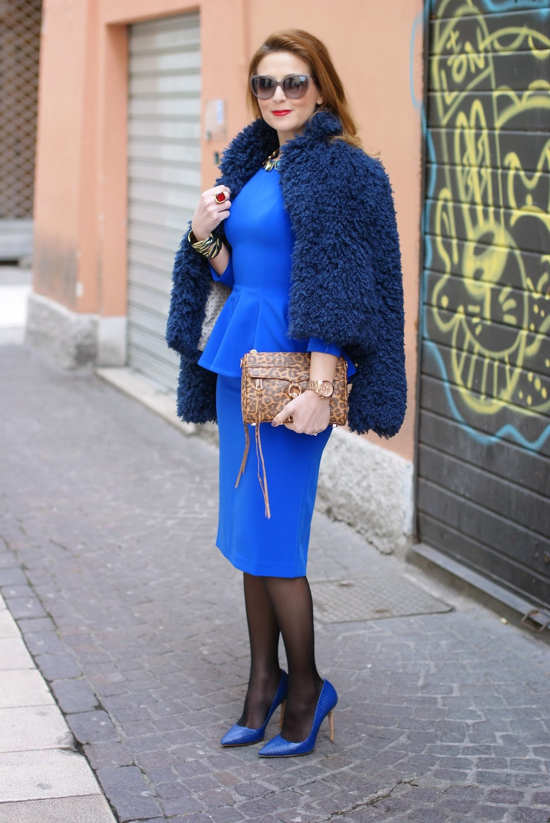 blue peplum dress on Fashion and Cookies fashion blog, fashion blogger style