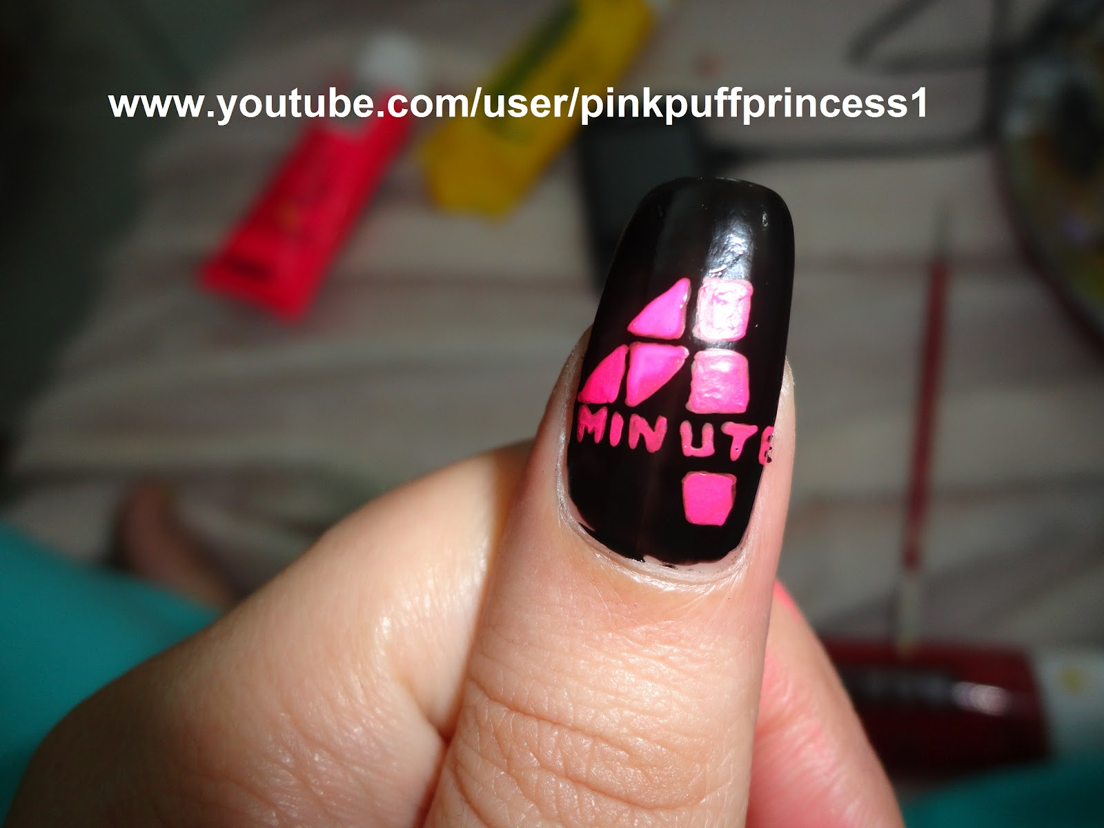 Kpop Nail Art 4Minute Logo Inspired By Pinkpuff Prince
