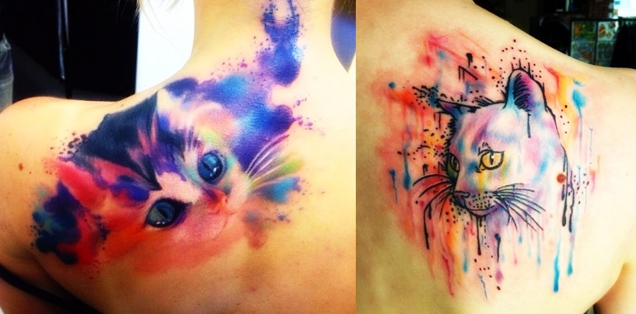 Beautiful watercolor cat tattoo everything about tattoos for Watercolor cat tattoo