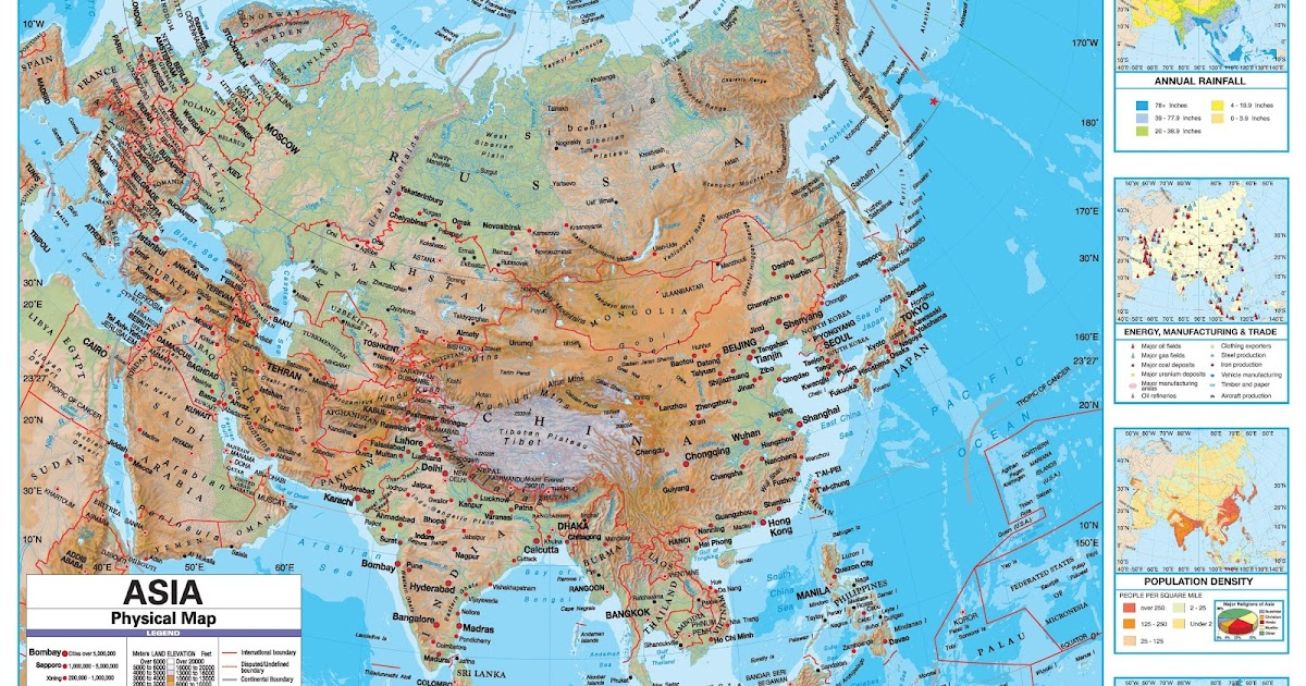 Online Maps Asia Physical Map - Asia physical map