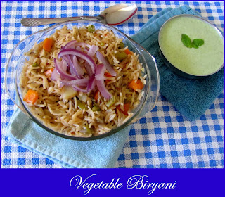 vegetable biryani in electric rice cooker