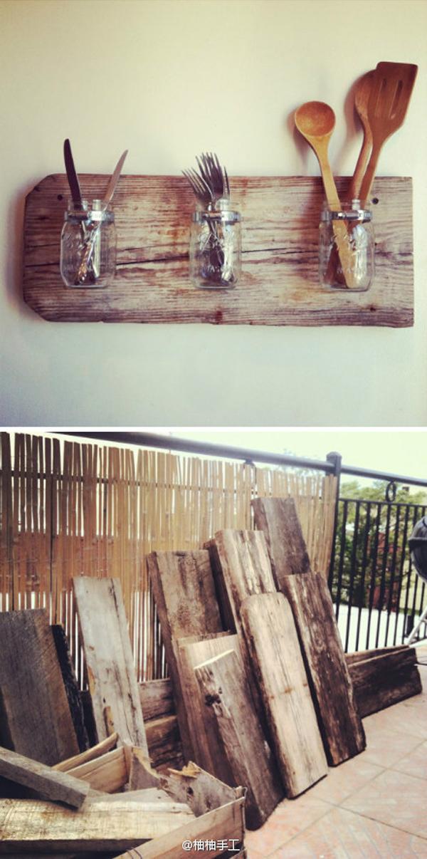 Muy cuqui diy colgadores de madera y botes de cristal for Colgadores de madera