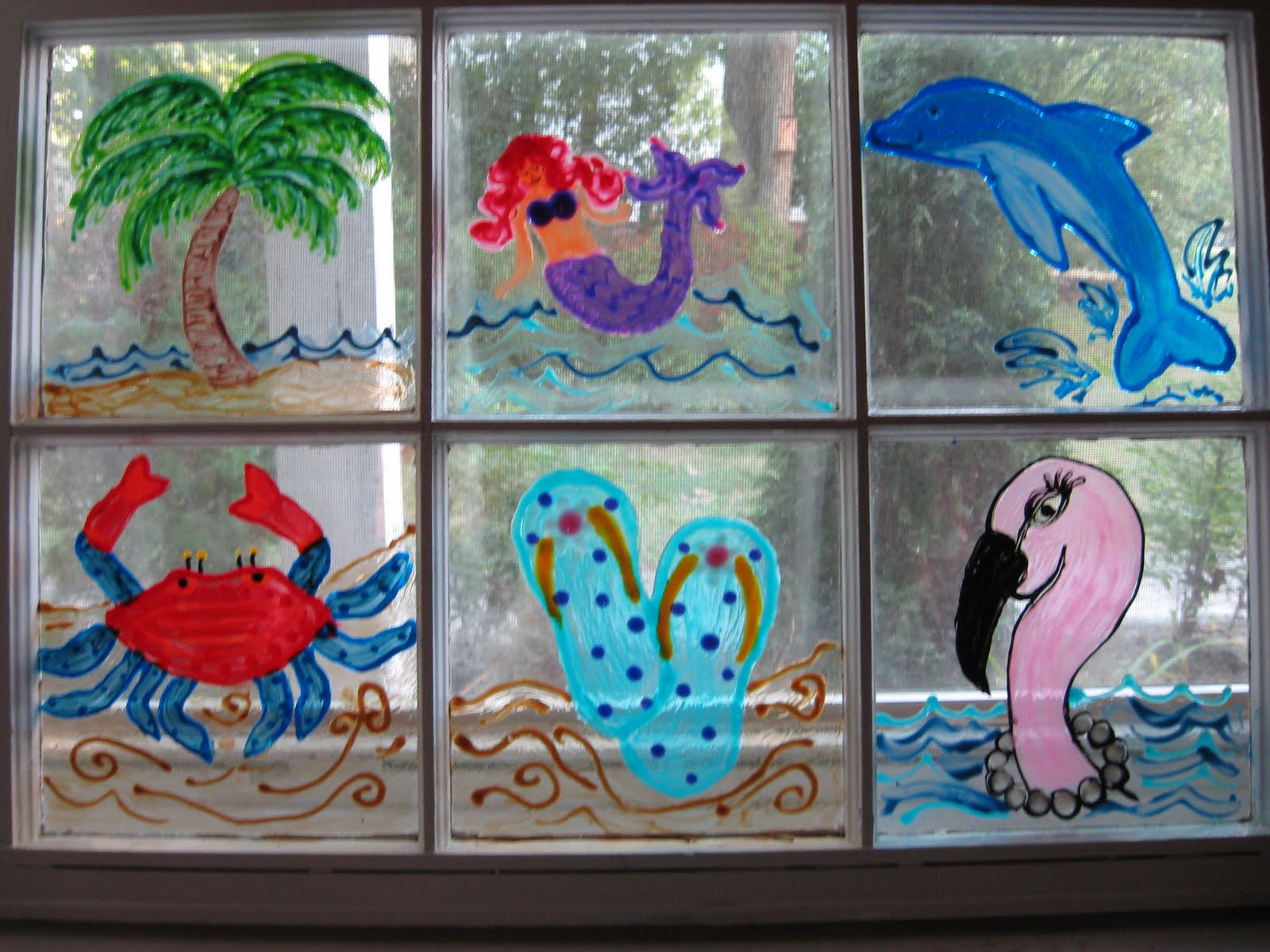 My naptime crafts beach themed painted window - Glass window painting ideas ...