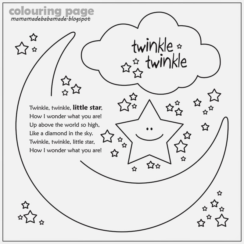 Mama Made Baba Made Twinkle Twinkle Little Star Twinkle Twinkle Coloring Page