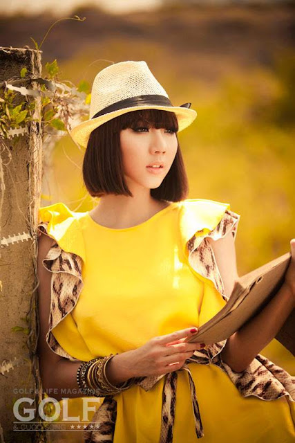 Ngoc Quyen sexy in yellow Dress fashion