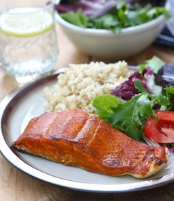 tandoori salmon with season with spice tandoori seasoning