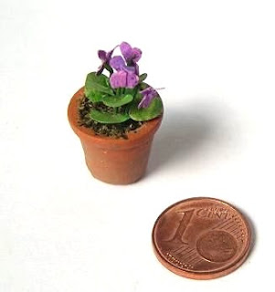 Violets in miniature for dollhouse