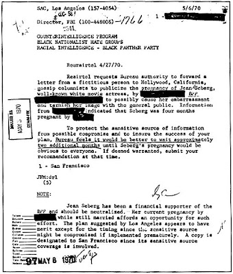 FBI document outlining smudge campaign against Jean Seberg black panther party member