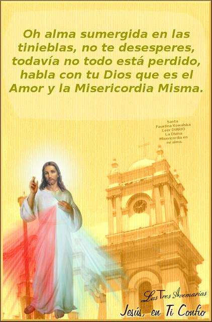 imagen de jesus misericordia con texto referente a las almas desesperadas