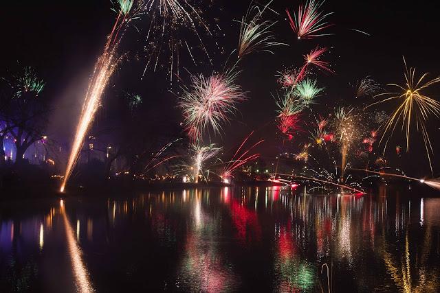 Ein Bild vom Feuerwerk am Aasee zu Silvester 2016