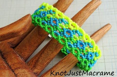 Neon micro macrame bracelet by Sherri Stokey of Knot Just Macrame.