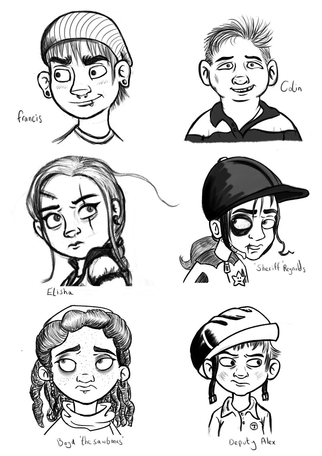 daniel mccloskey character head sketches