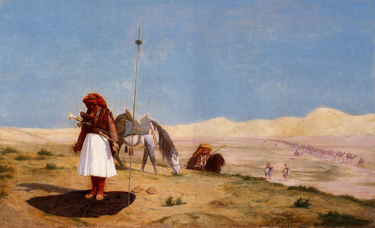 Prayer in the Desert - Albanian warior