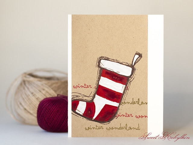 Christmas Card with Christmas Stocking from IndigoBlu by Sweet Kobylkin