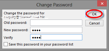 change password in outlook 2013