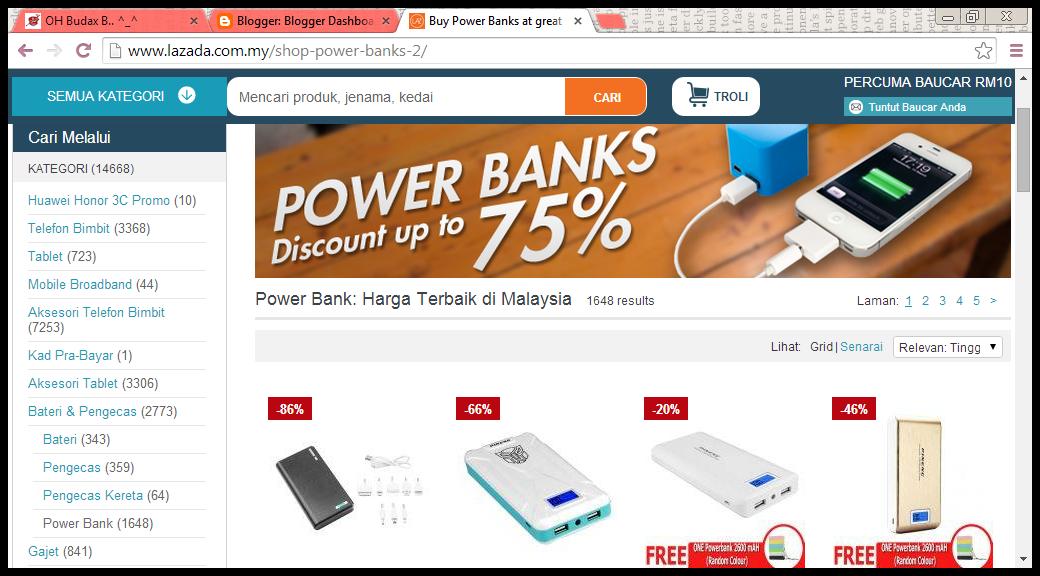 Beli Powerbank di LAZADA secara Online