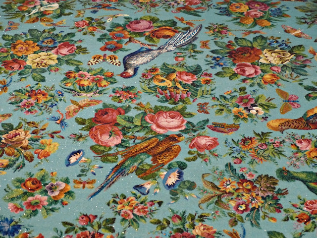 Detail of Peranakan beadwork tablecloth