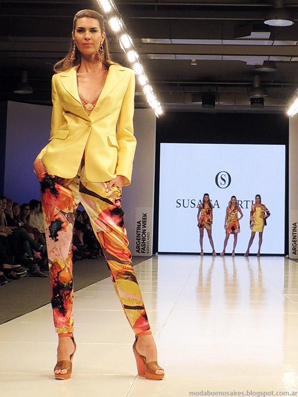 Susana Ortiz primavera verano 2015. Moda trajes de mujer en plenos y estampados primavera verano 2015.