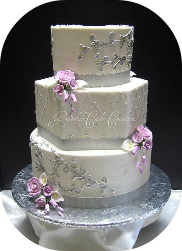 Cakechannel com world of cakes elegant silver and white wedding