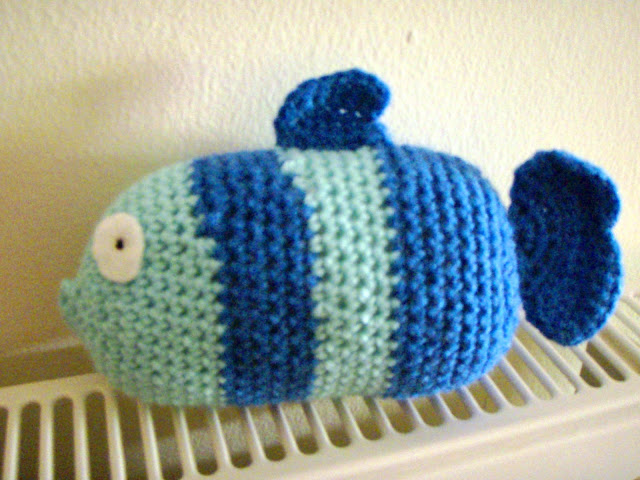 double coloured crochet fish plush toy stripes