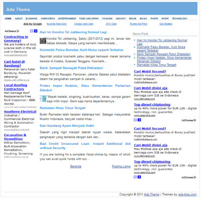 Simple Template Blogspot Adsense-homepage
