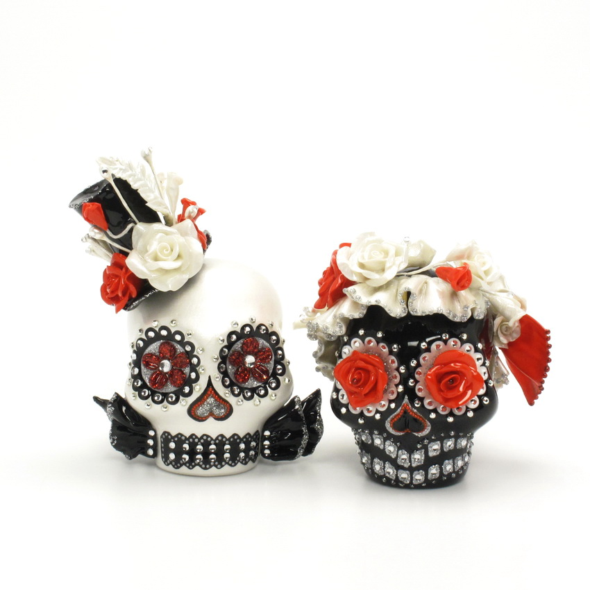 day of the dead wedding cake topper mexican skull 00125