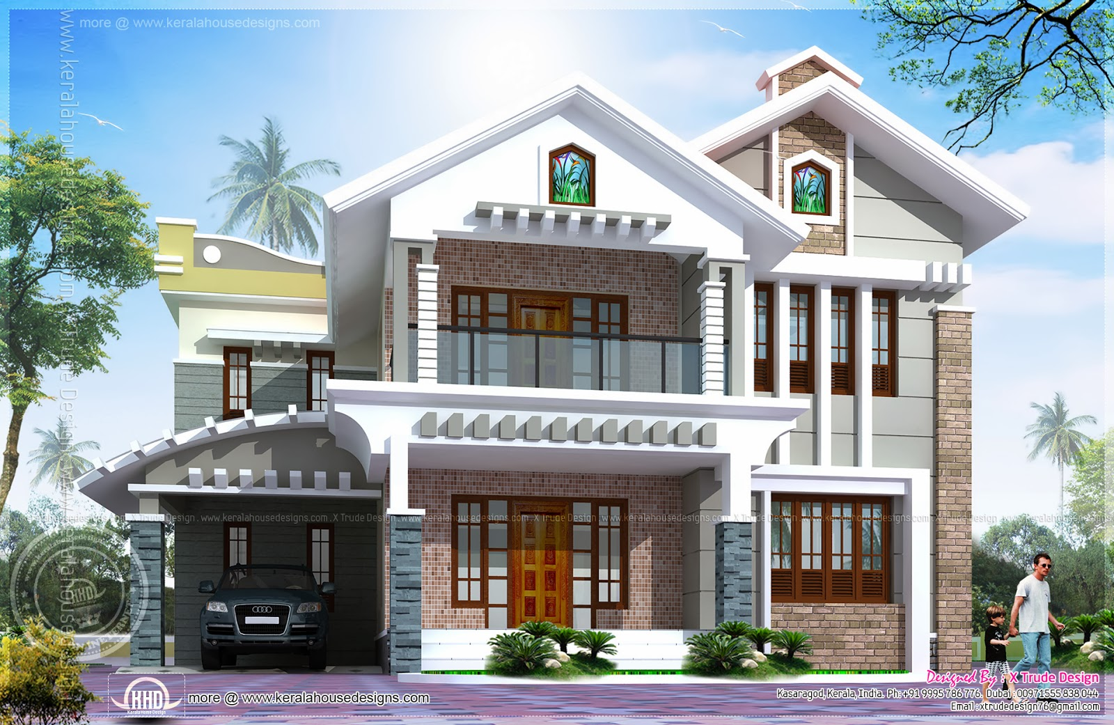 3080 square feet luxury villa exterior indian house plans for Indian home exterior designs