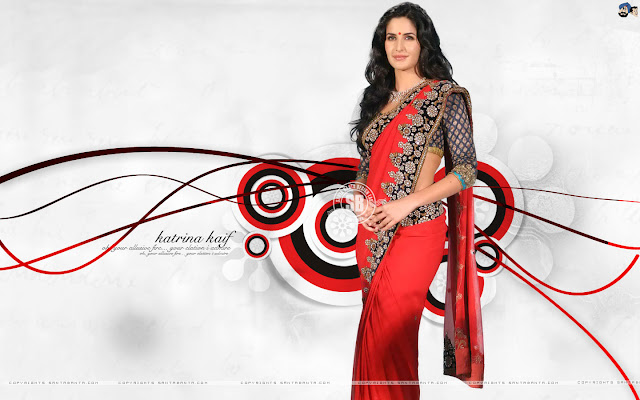 Katrina Kaif 2011 Wallpaper In Hot Red Saree