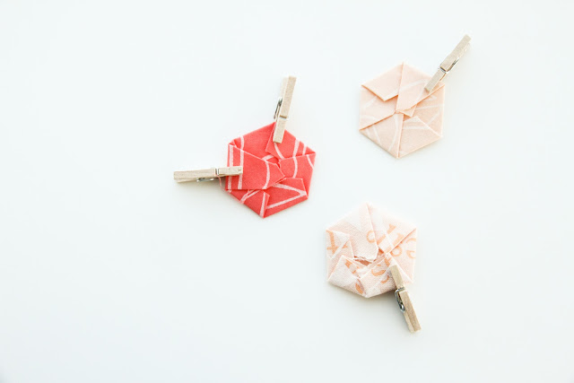modern no-sew hexies tutorial in mint, peach, and coral | by Lovely and Enough