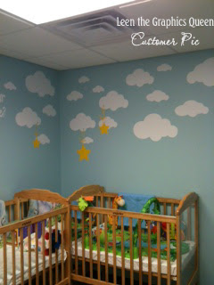 clouds stars nursery decal
