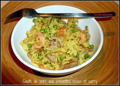 Photo Sauté de porc aux crevettes roses et curry