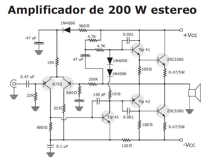 electronica casero  amplificador de 200w
