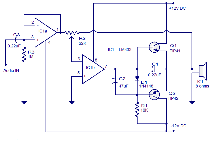 Simple Class   B       amplifier   Opamp TL082     Circuit       diagram
