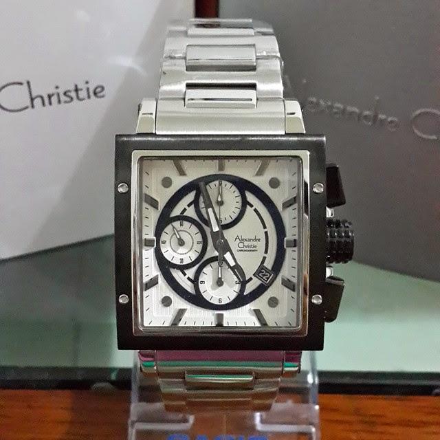 jam tangan alexandre christie 6182 silver putih