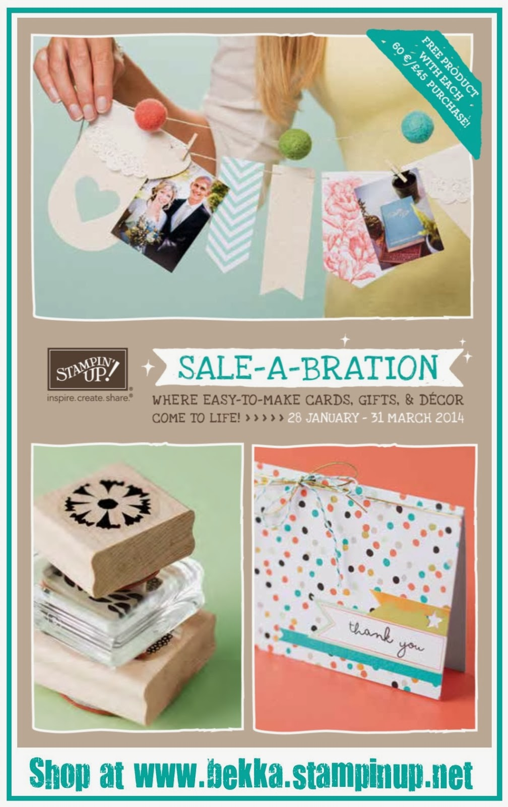 Earn free products from this brochure when you shop at www.bekka.stampinup.net before 31 March 2014